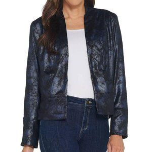 H by Halston Distressed Faux Suede Jacket L1206